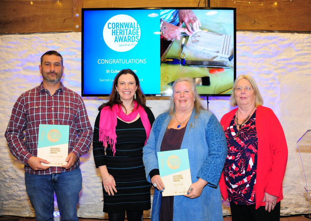 A photograph of the smaller organisations collecting their Audience Initiative Award certificates.