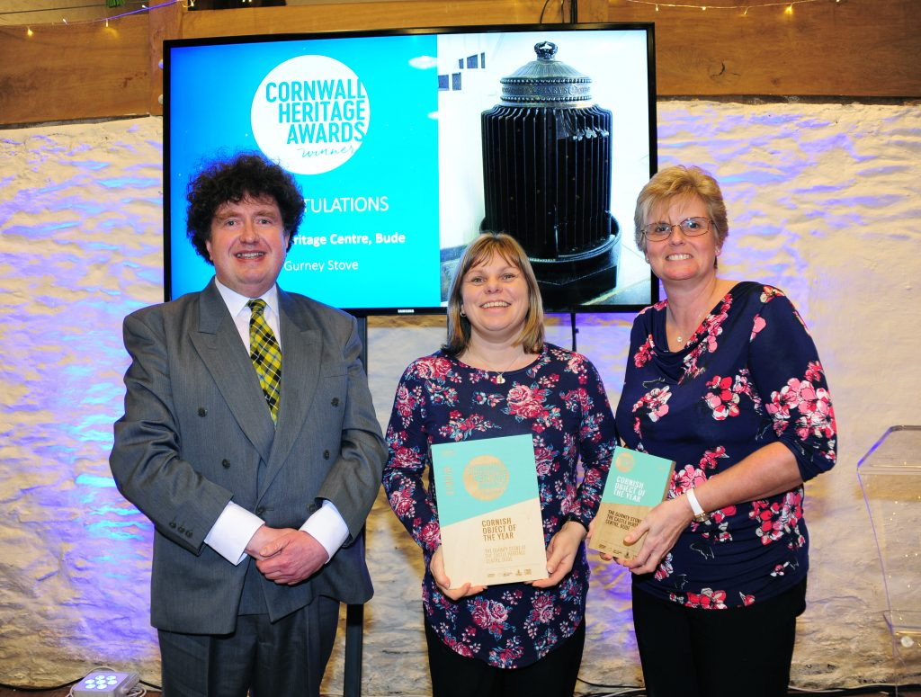 The Castle Heritage Centre, Bude, collecting the award for winning Cornish Object of the Year 2019.