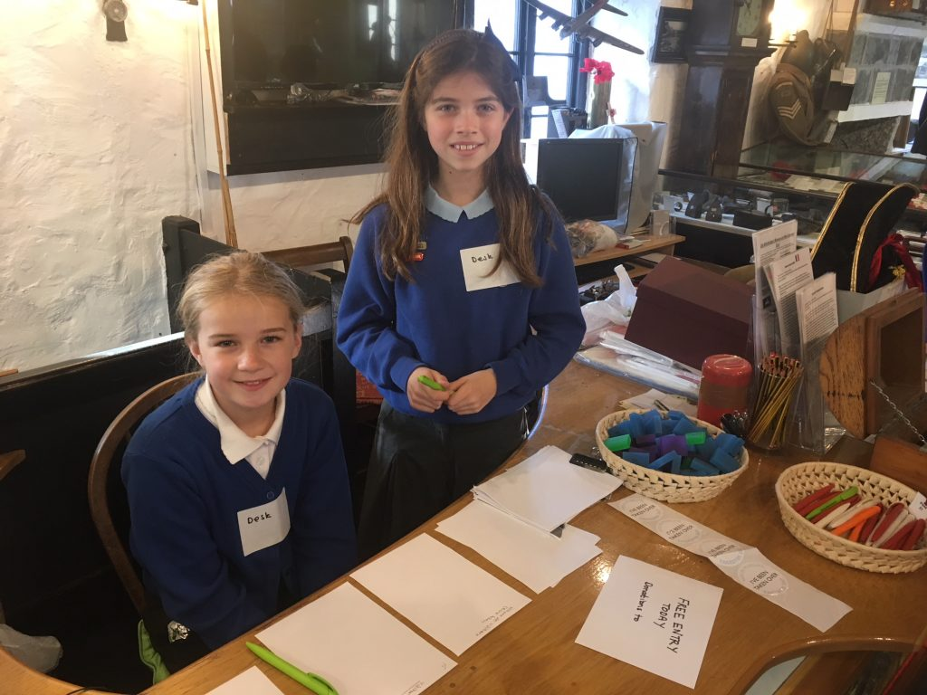 School children taking part in the Kids Takeover Day at the Old Guildhall Museum and Gaol, Looe