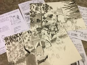 An array of drawings and paintings from sketch packs by the Museum of Cornish Life. The two top pieces are black and white paintings of a graveyard.