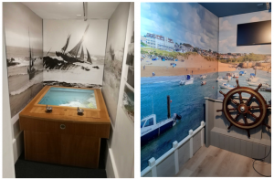 Two images demonstrating a before and after: a small room at Bude Castle containing a faulty game is now a bright room with coastal wallpaper and a moveable steering wheel on one wall.