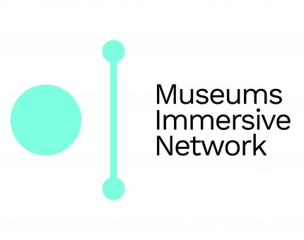 A white and light blue logo reading 'Museums Immersive Network'. The logo is a blue circle to the left of a line.