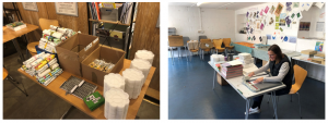 Two images side by side. The first shows a table covered in boxes and art supplies waiting to be packed up. The second shows a volunteer at Penlee House sorting the materials by hand.