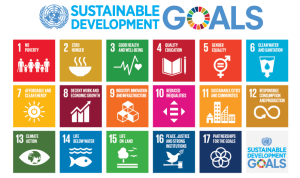 A graphic showing 18 different coloured squares in 3 rows. At the top is the United Nations Logo and 'Sustainable Development GOALS'. Each square contains a different icon e.g. a book or bowl of food relating to the goal it represents.