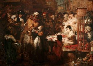 A painting 'Arrest of the Smuggler in East Looe, 1820' by John Robertson Reid. Showing Amram Hooper and Jochabed, and in the background there is a mysterious dark figure watching who could be Joan Finn, another famous Looe smuggler.