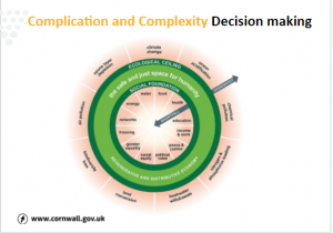 A Powerpoint Slide labelled 'Cornwall Council' and titled 'Complication and Complexity; Decision Making'. The image is of a doughnut graph showing the need for a balance of ecological and social changes to address the climate crisis.