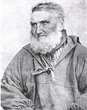A black and white engraved portrait of an elderly, bearded man in fisherman's garb