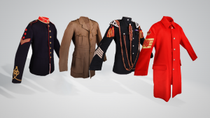 Four different historic military jackets in their 3d digitised form. All from the costume collection at Bodmin Keep