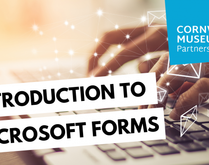An image of someone typing on a laptop, with the CMP logo in the top corner and a text box reading 'Introduction to Microsoft Forms'
