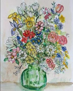 A pen drawing and watercolour piece of a green vase full of colourful flowers.
