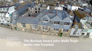 An aerial photograph over Porthmeor Studios on the beach front